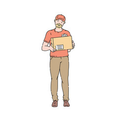 delivery man or courier in orange uniform and cap vector image