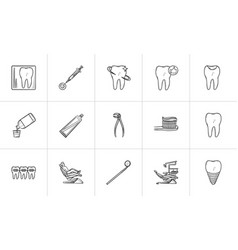 dentistry hand drawn outline doodle icon set vector image