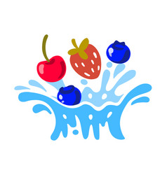 different bright berries fall in water vector image