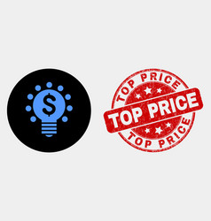 dollar light bulb icon and distress top vector image