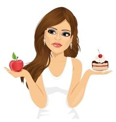 Doubtful woman holding an apple and dessert vector