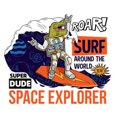 Dude in space suit surfer vector