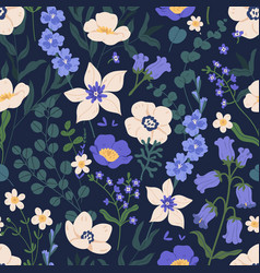 elegant seamless floral pattern with bluebells vector image