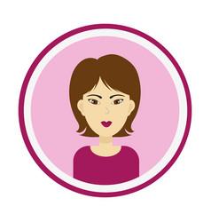 Girl face with medium length brown hair and eyes vector