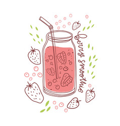 glass jar berry smoothie with straw healthy vector image