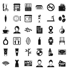 hair style icons set simple style vector image