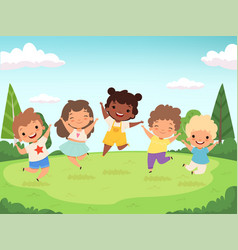 happy kids background funny childrens playing and vector image