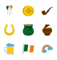 Happy patrick day icon set flat style vector