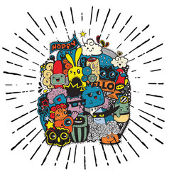 Hipster hand drawn happy doodle monster group vector