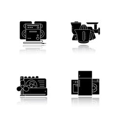 Household appliances drop shadow icons set vector image