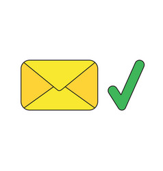 icon concept closed envelope with check mark vector image