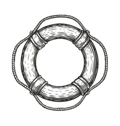 Lifebuoy in sketch style isolated on white vector