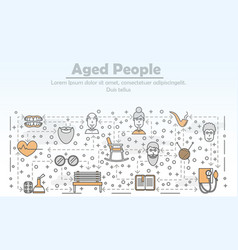 line art aged people poster banner template vector image