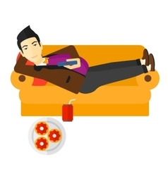 Man lying on sofa with junk food vector image