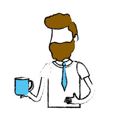 Man with coffee cup in his hand and elegant wear vector