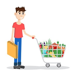 Man with shopping cart vector image