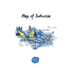 map of indonesia watercolor vector image