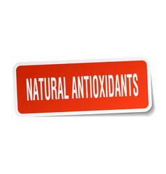 Natural antioxidants square sticker on white vector