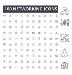 networking line icons signs set outline vector image
