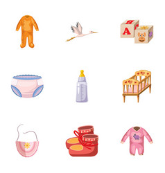 Newborn icons set cartoon style vector