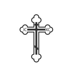 orthodox cross icon flat design vector image