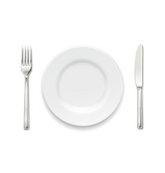 Plate fork and knife set vector