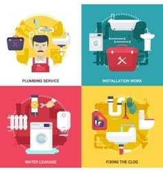 Plumbing Service 4 Flat Icons Square vector