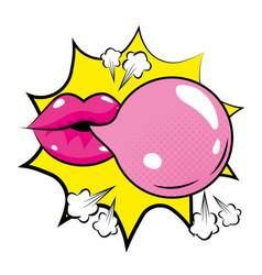 Pop art mouth with bubble gum cartoon vector