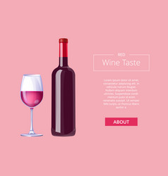 Red wine taste poster bottle burgundy merlot glass vector