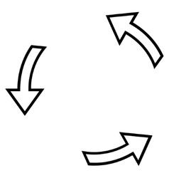 Rotation arrows thin line icon vector