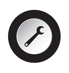 round black white button with spanner icon vector image