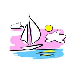 Sailboat at sunset vector