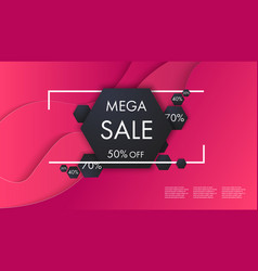 sale banner template with paper cut multicolor vector image