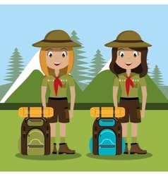 Scout character with travel bag isolated icon vector