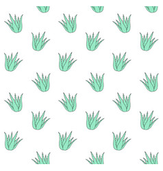 seamless pattern green mint hand drawn aloe vector image