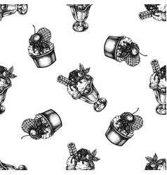 Seamless pattern with black and white ice cream vector