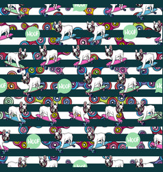 Seamless pattern with french bulldog and spinners vector