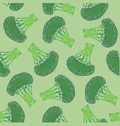 Seamless pattern with green broccoli vector