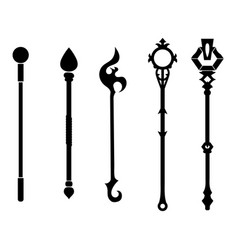 Set black silhouette staff icons vector
