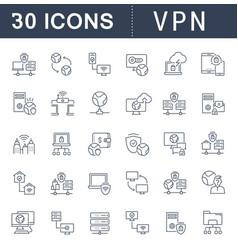 set line icons vpn vector image