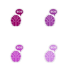 Set of paper stickers on white background symbol vector