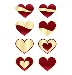 Set of Red Hearts with Gold Labels vector