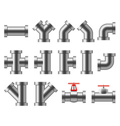 silver pipes aluminum and chrome pipeline pipe vector image