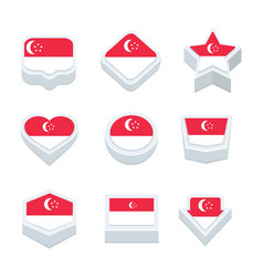 Singapore flags icons and button set nine styles vector