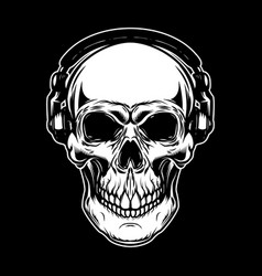 skull in headphones on dark background design vector image