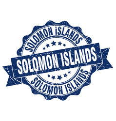 solomon islands round ribbon seal vector image