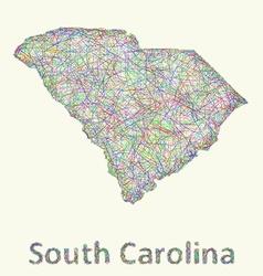South Carolina line art map vector