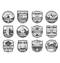 sport adventure travel equipment isolated icons vector image