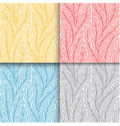 stylized colorful branches and leaves seamless vector image