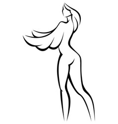 Stylized silhouette woman with wings vector